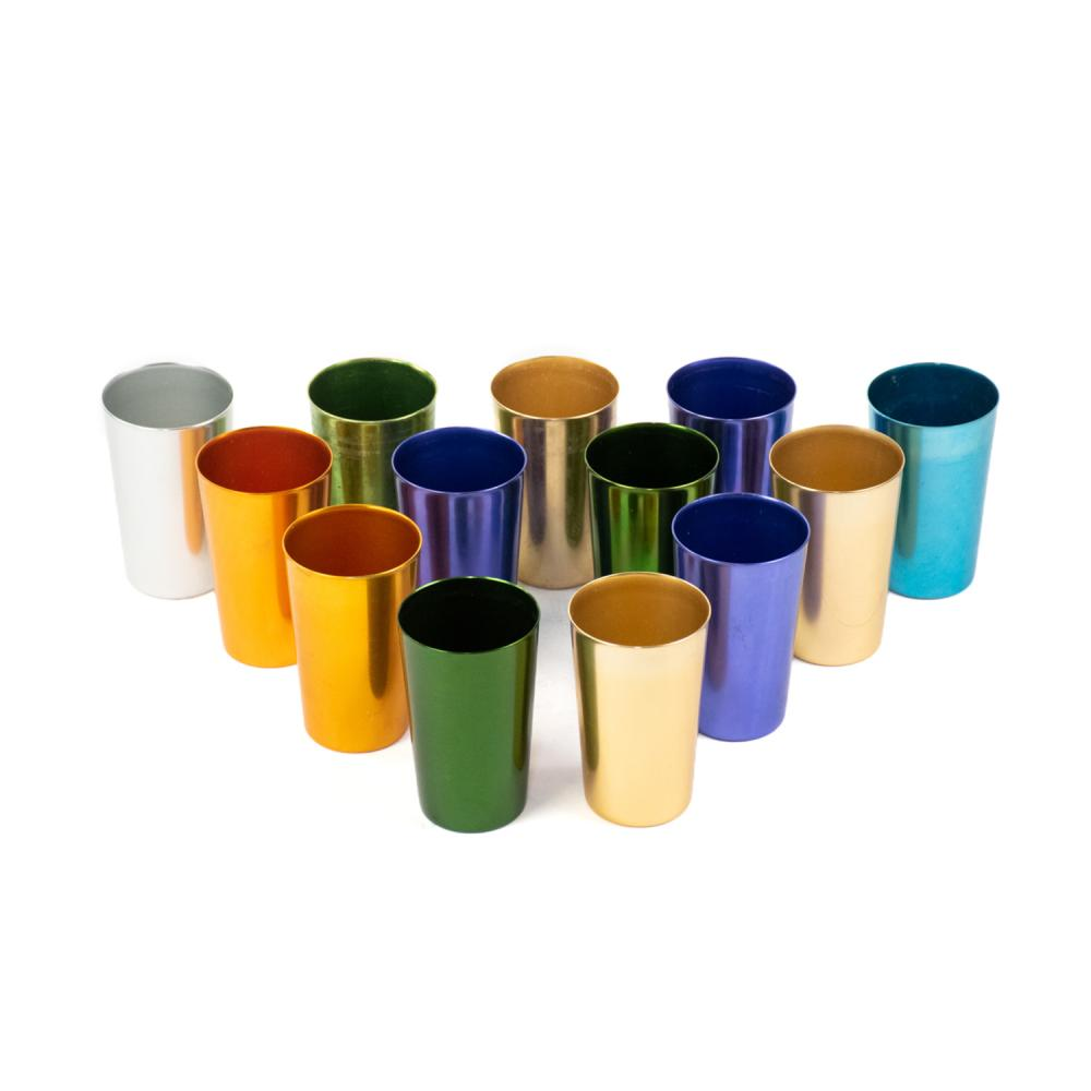 Group of 13 Bascal Italy Multi-Colored Aluminum Cups