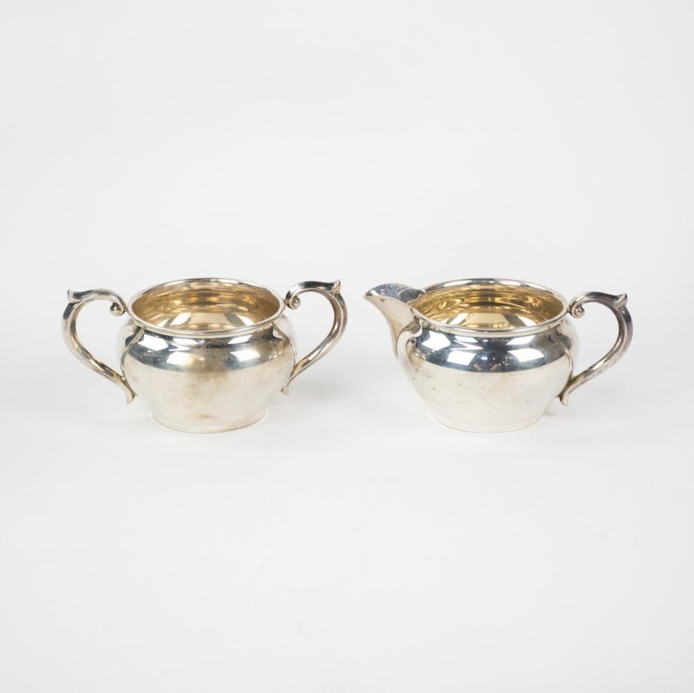 Newport Sterling Silver Creamer and Sugar Bowl Set