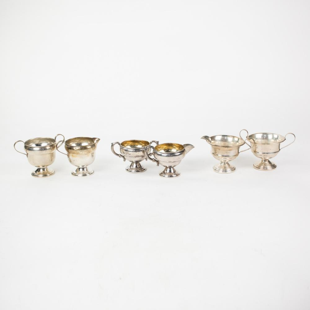 Grouping of Weighted Sterling Creamer & Sugar Bowl Sets