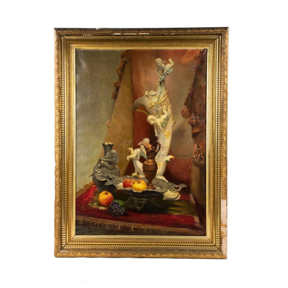 Louis Ernest Guille Still Life Signed Oil on Canvas