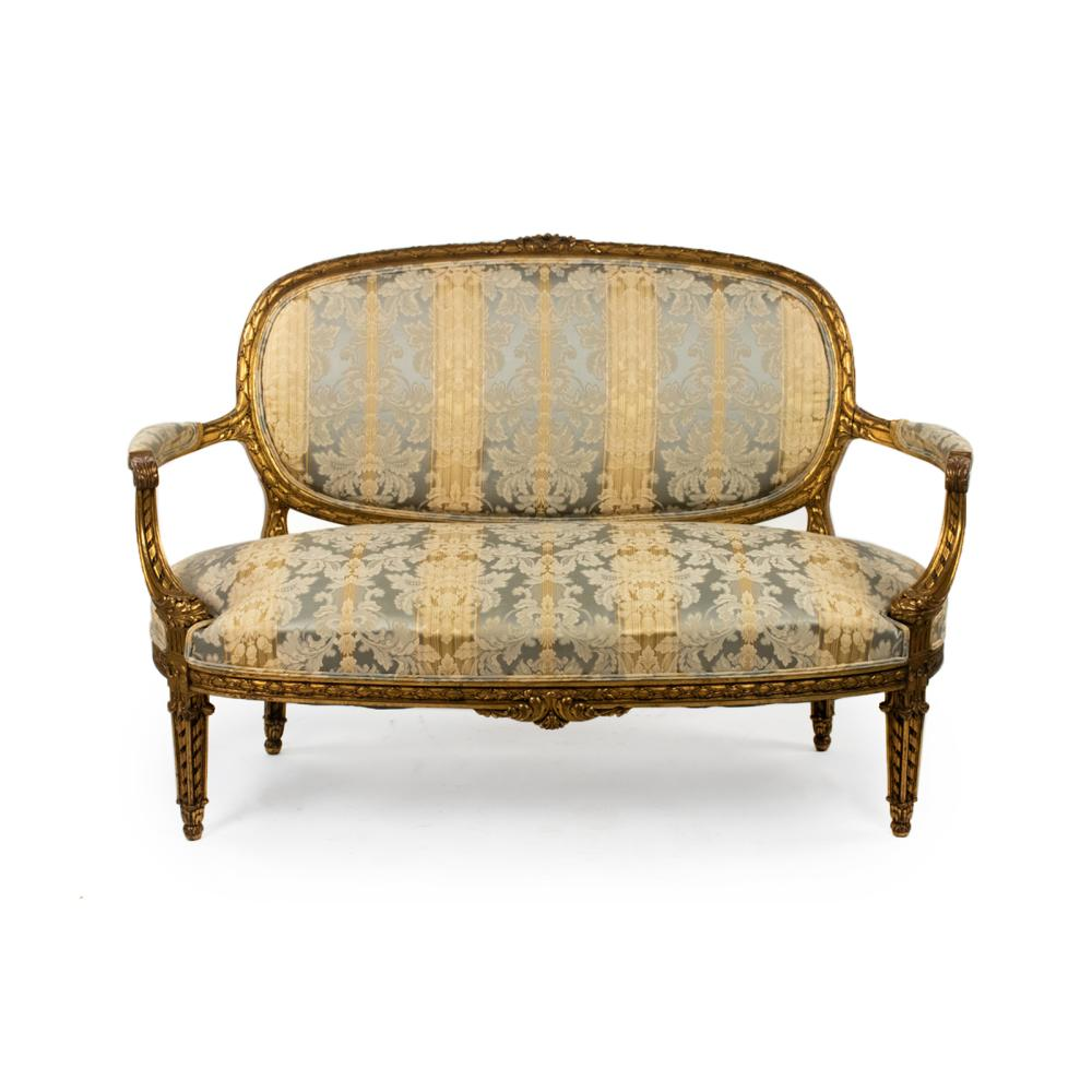 French Louis XVI Style Blue and Gold Silk Settee
