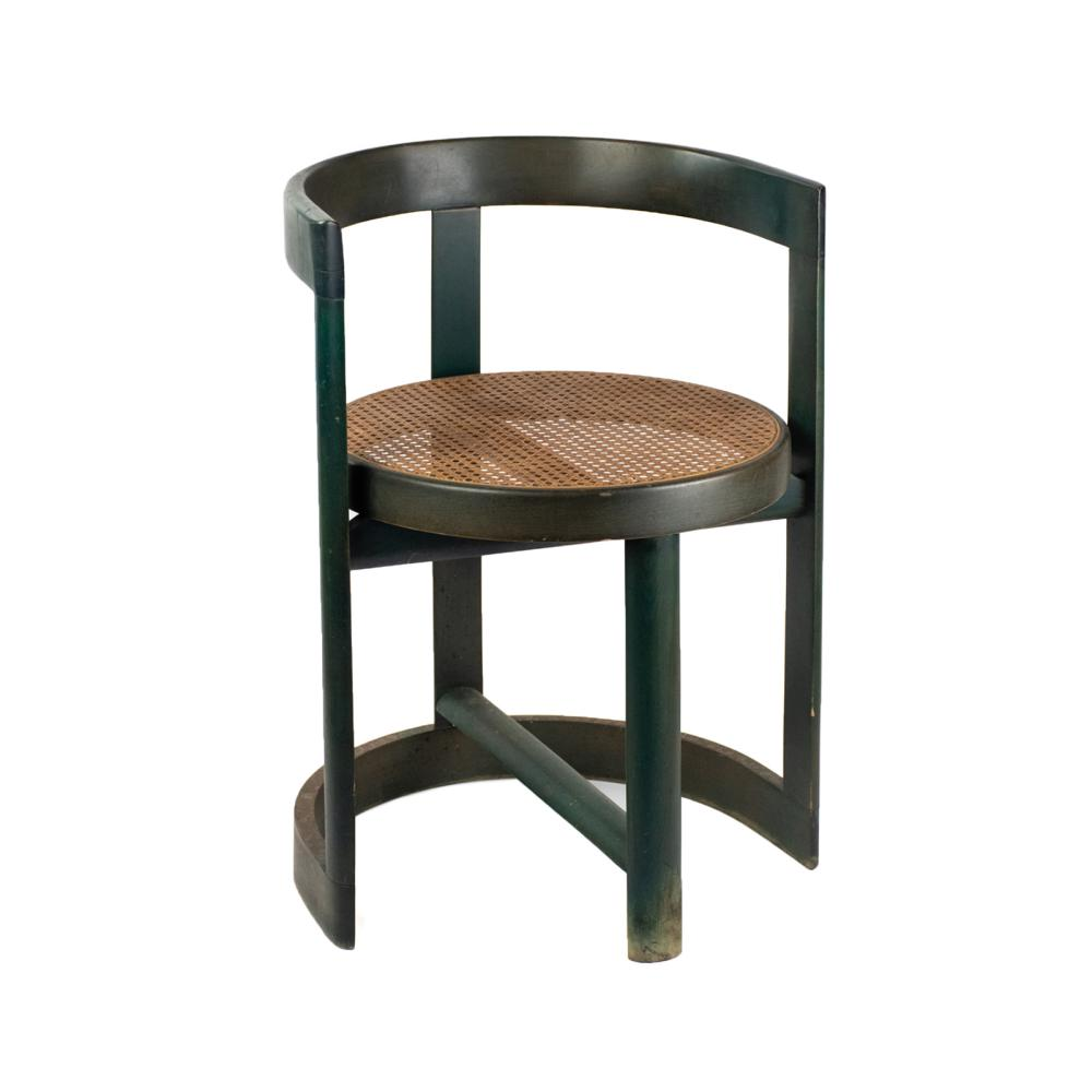 Thonet Style Green Caned Round Side Chair