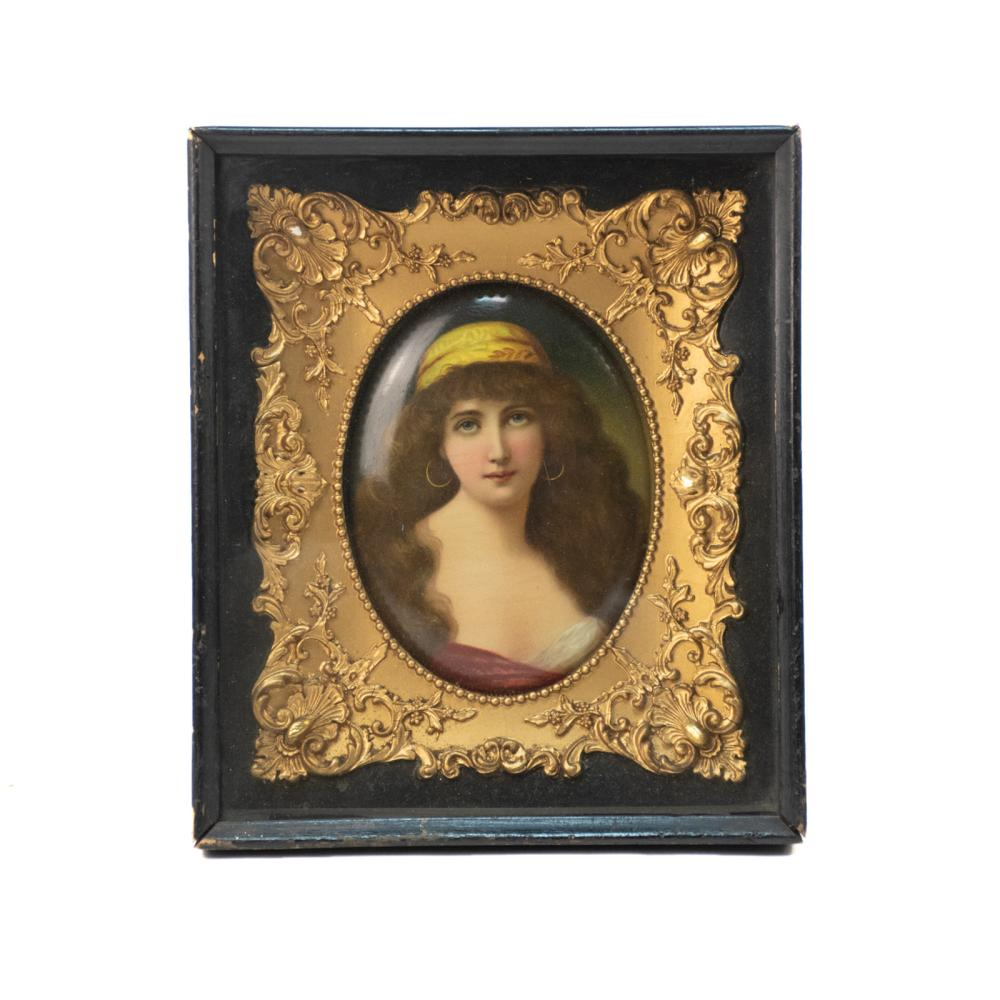 Late 19th C Ovular Girl Portrait Painting on Tin