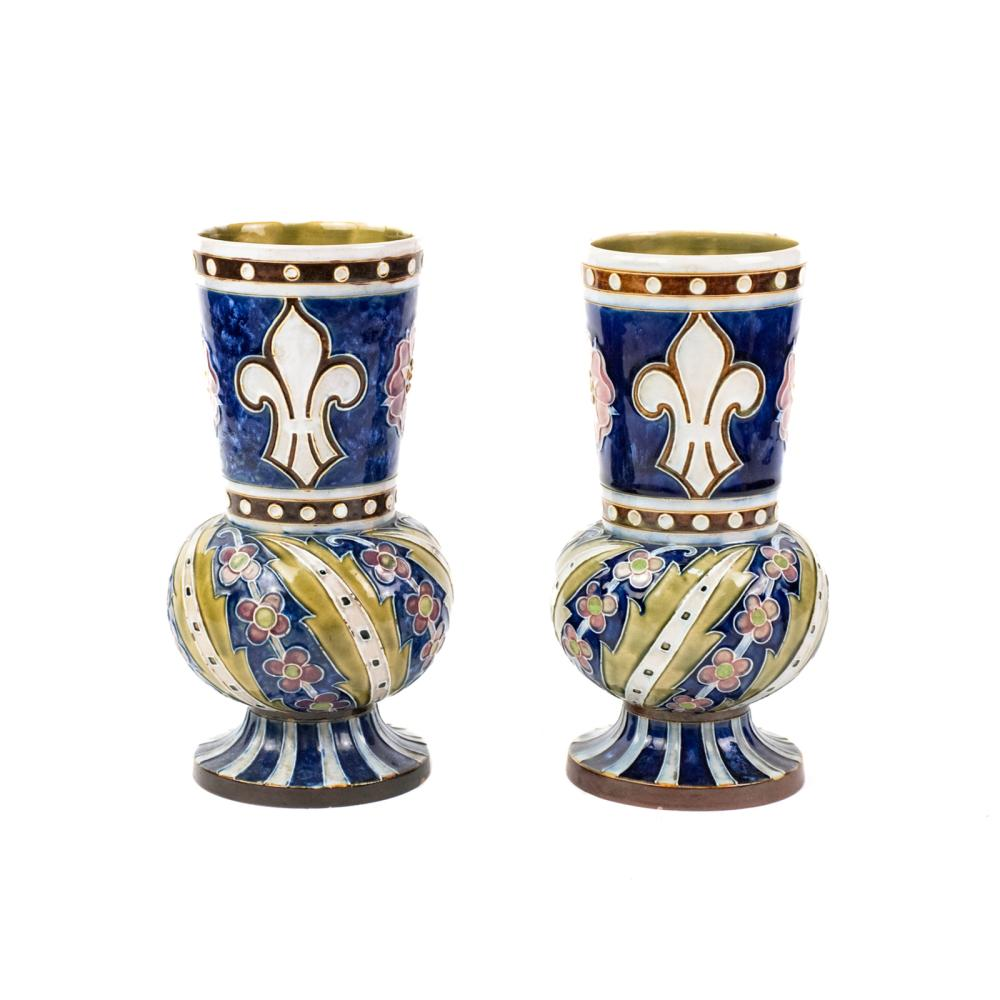 Pair of Antique Doulton Lambeth Stoneware Vases