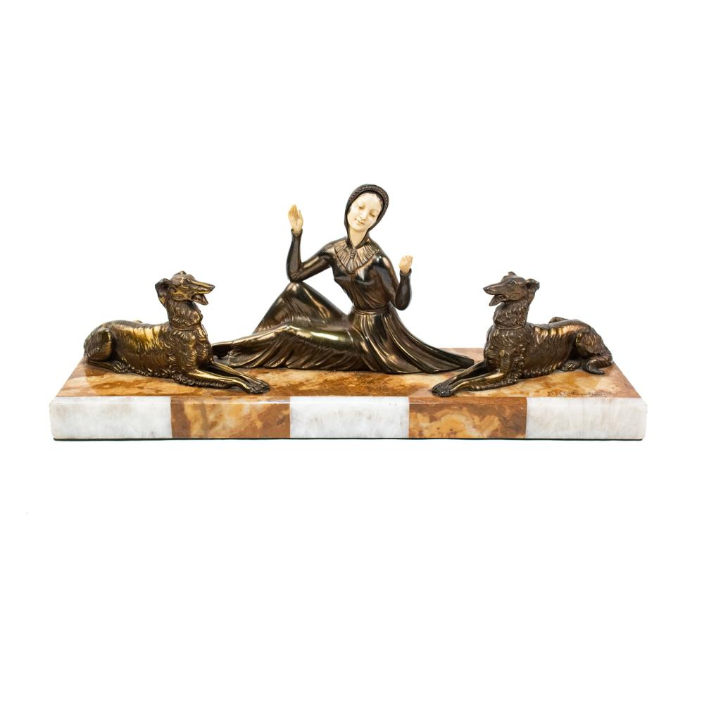 D.H. Chiparus Signed Woman Art Deco Bronze Sculpture