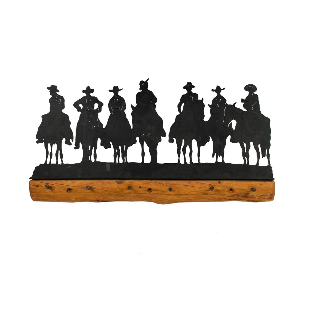 Western Cowboy Silhouette Iron and Wood Coat Rack