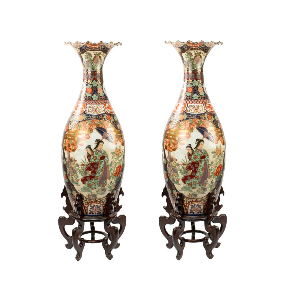 Pair Large Japanese Imari Painted Temple Vases W Stands