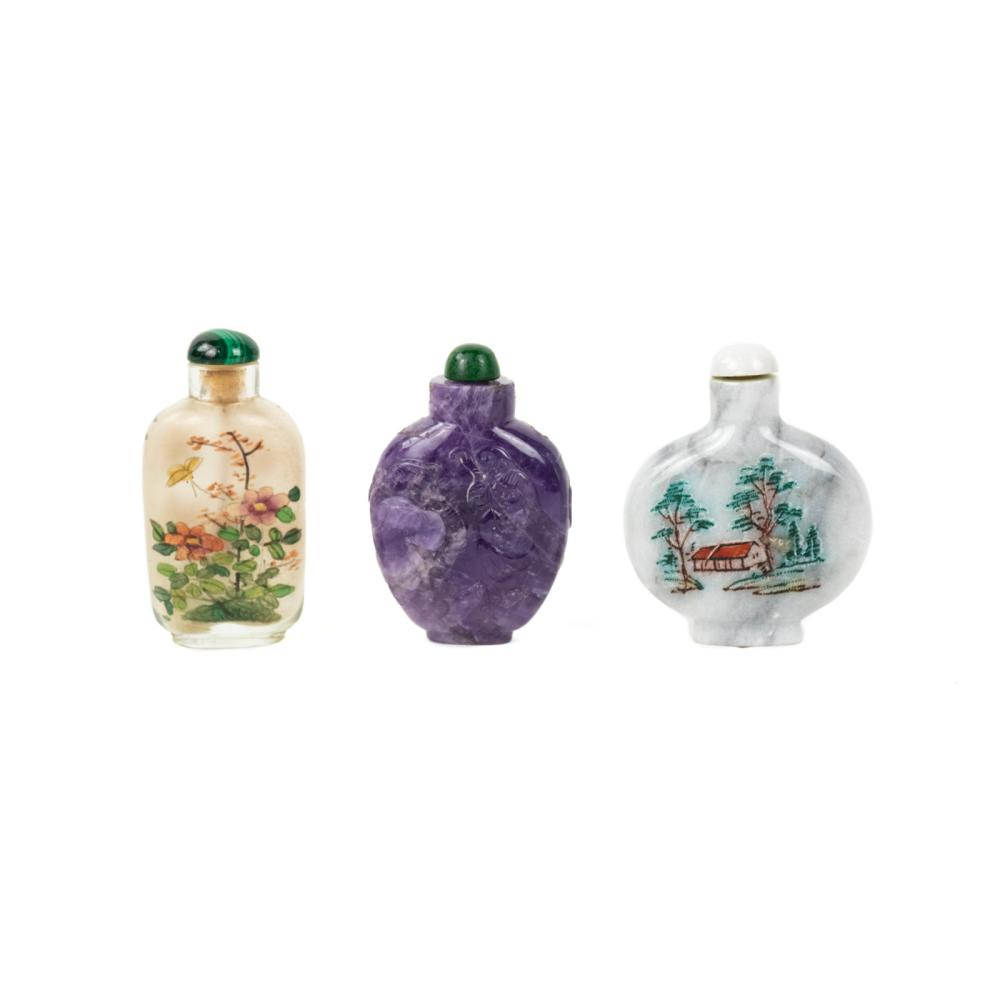 (3) Chinese Snuff Bottles - Amethyst & Marble