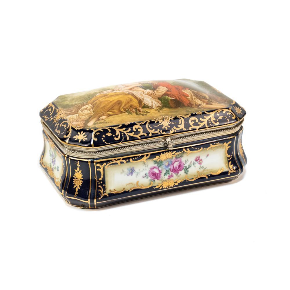 Porcelain RS Prussia Boucher La Marotte Vanity Box