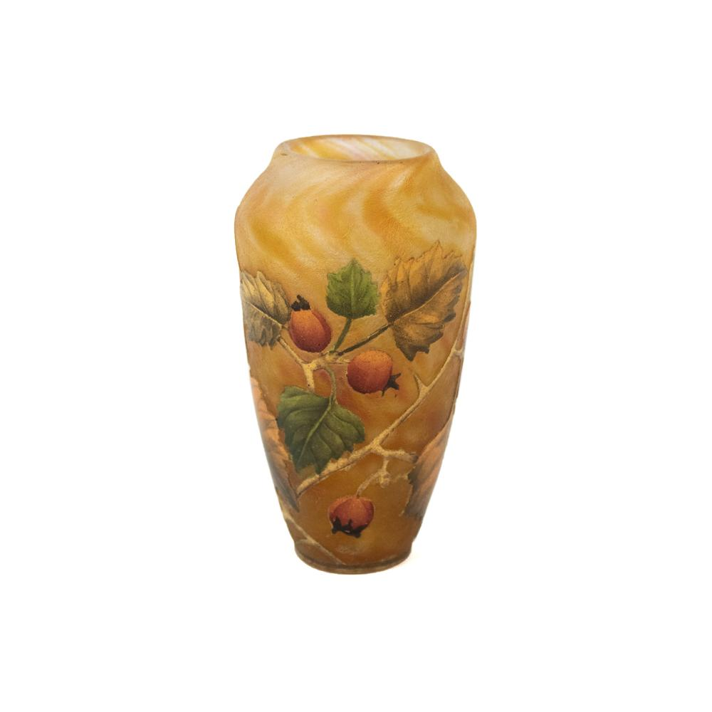 Daum Nancy Cameo Glass Apricot Vase