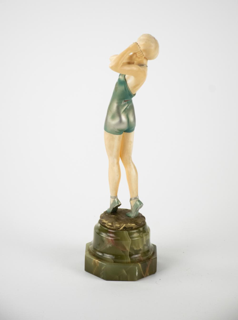 Ferdinand Preiss 'Golfer' Cold Painted Bronze Sculpture