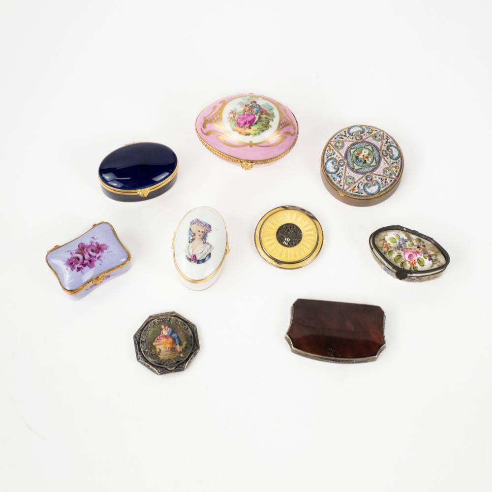 (9) Dresser Boxes Sterling Enamel Porcelain Turtle Shell