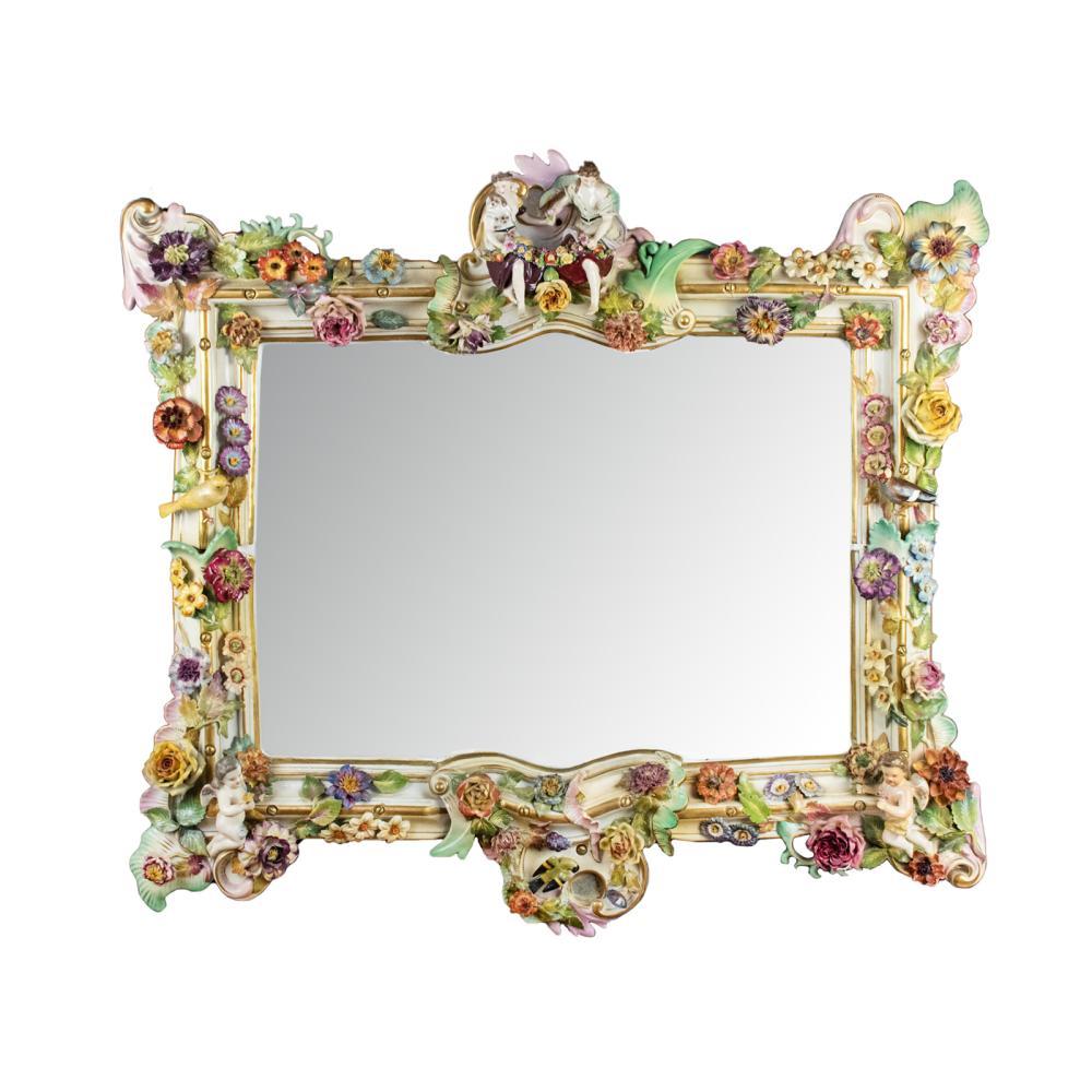 Meissen Porcelain Figural Beveled Wall Mirror