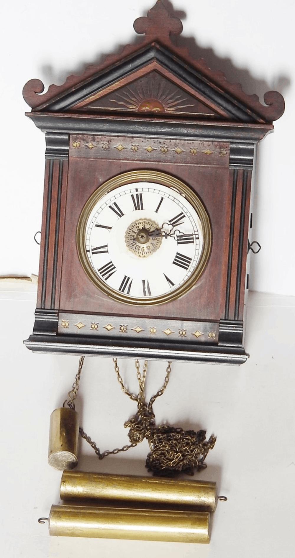 Schwarzwälder Wecker-Wanduhr mit Glockenschlag,um 1860,Höhe des Uhrengehäuses ca.34cm,mit 3 Messinggewichten