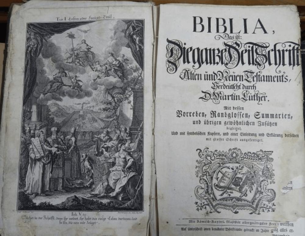Grosse Luther Bibel,1756,beschädigt und unrestauriert