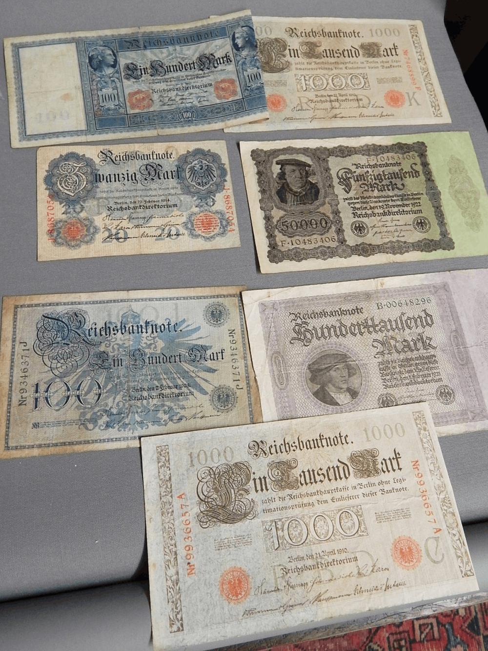 Konvolut 7 Reichsbanknoten,zusammen