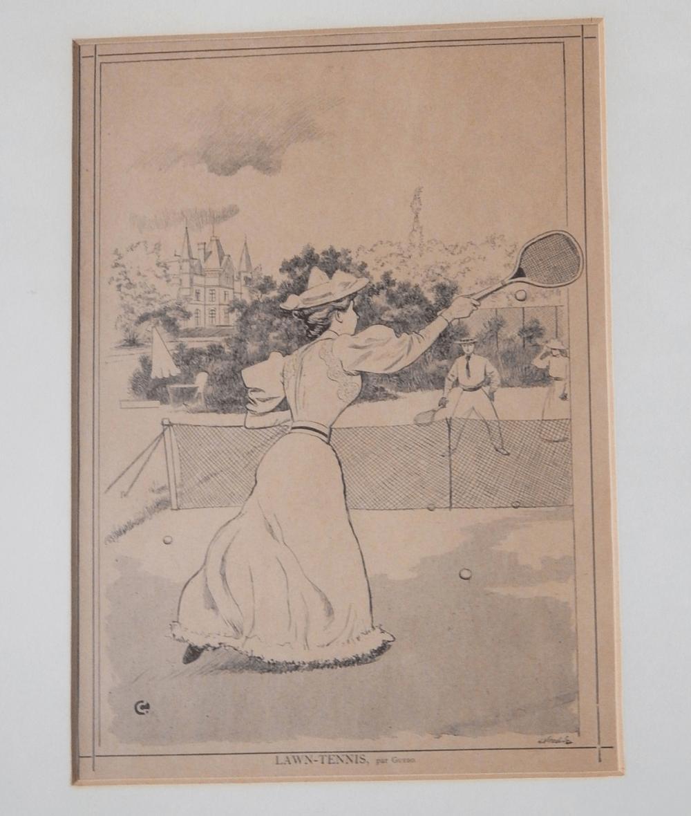 """""""Lawn-Tennis"""",Lithographie by Guydo,Bildausschnitt ca.27x19,5"""