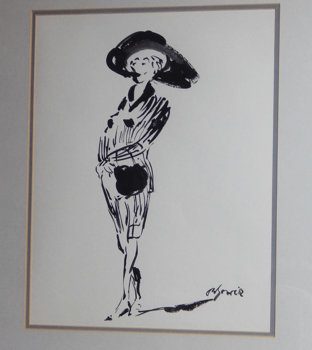 """""""Galante Dame mit Hut"""",wohl Tuschezeichnung,unleserlich signiert,Bildausschnitt ca.42x33,5cm"""
