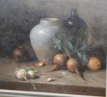 """Oskar Ramos (1948) """"Küchenstilleben mit Gemüse und Krügen"""",Öl auf Leinwand,signiert,50x60cm"""