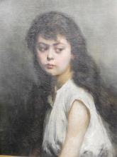 """""""Südosteuropäisches Mädchen"""",Öl auf Leinwand auf Malkarton aufgezogen,unsigniert,Alexei Harlamoff (1840-1925) zugeordnet, ca.59x46,5cm"""