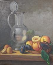 """Oskar Ramos (1948) """"Stilleben mit Zinnkrug und Früchtekorb"""",Öl auf Leinwand,signiert,60x50cm"""