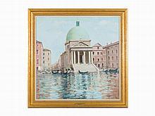 André Gisson, View of San Simeone Piccolo, Venice, Oil