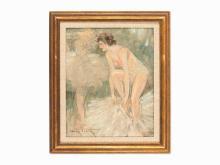 Louis Icart, Danseuses de Cirque s'habillant, Oil on Canvas