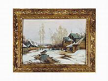 Karl Rozen, Winter Village, Oil on Board