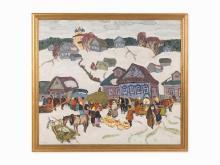 "Russian School, signed ""M. Kogan"", Market in Winter, 20th c."