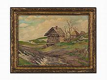 David Burliuk, Summer Cottages, Oil on Canvas, 1922