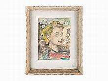 David Burliuk, Head of Lady in Surrealist Landscape, 20th C.