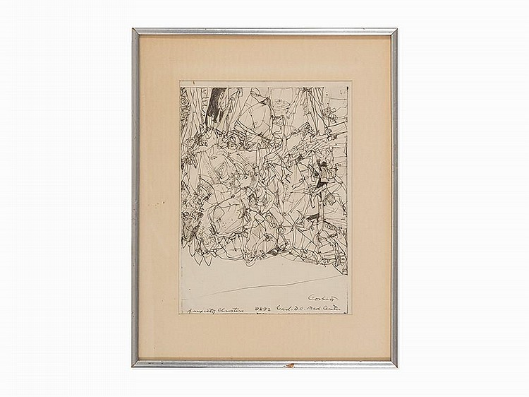"""Edward Corbett, """"Anxiety Clusters,"""" Drawing, Mid-20th Century"""