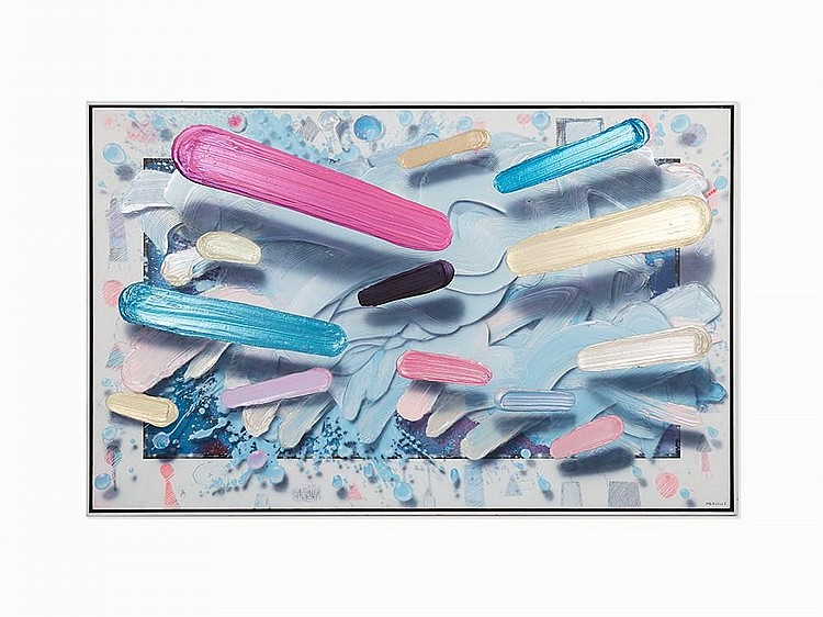 """Clarence Measelle, """"Fragments,"""" Acrylic on canvas, 1990"""