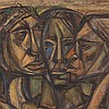José Vela Zanetti, Three Heads, Oil on Wood, 1960