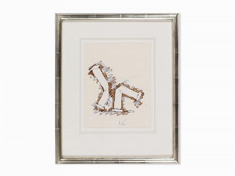 """Claes Oldenburg, """"2 Soft White Columns,"""" Work on Paper, 1990"""