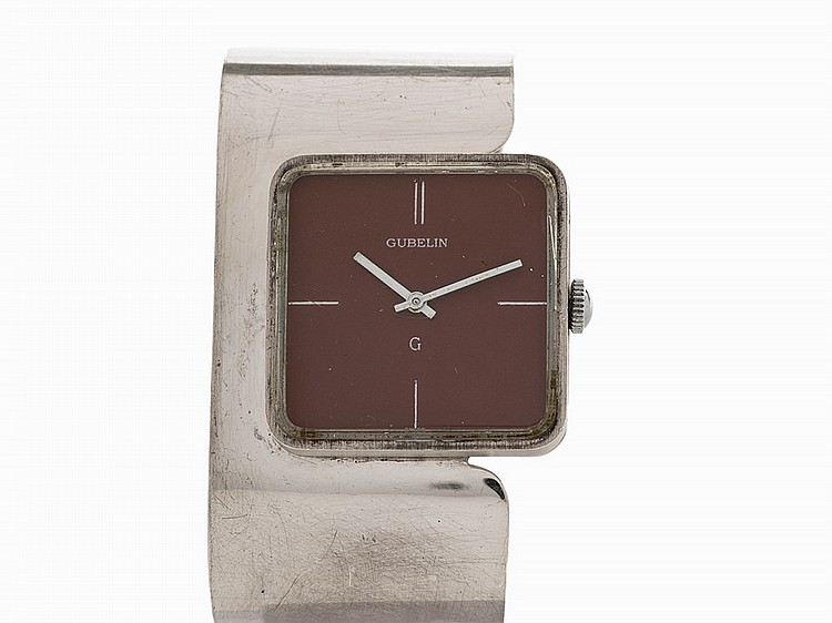 Gubelin Vintage Silver Cuff Wristwatch, Switzerland, c.1970