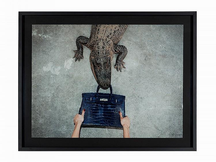 Tyler Shields, C-Print, 'Hermes Birkin, Gator, Hands', 2014