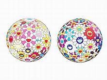 Takashi Murakami, Flowerball (3D), 2 Lithographs, 2008-2013
