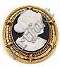 Broche ovale en alliage d'or 14 carats ornée d'un