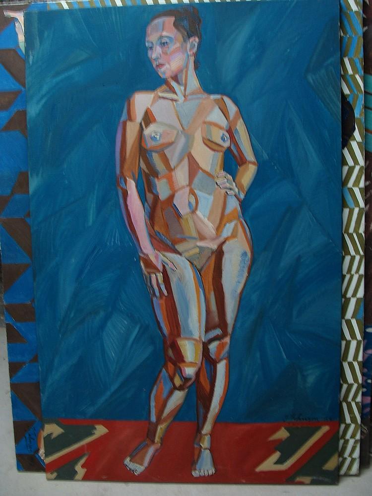 JOHNSON John Theodore 1902-1963 Composition cubiste Femme aux cheveux relevés posant debout nueHuile sur Toile 120 x 75 cm