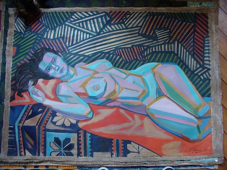 JOHNSON John Theodore 1902-1963  Composition cubiste Femme nue à la queue de cheval allongée sur un drap orangeHuile sur Toile 80 x 110 cm