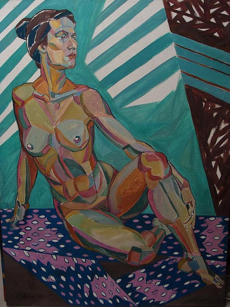JOHNSON John Theodore 1902-1963 Composition cubiste Femme nue assise et se tenant le molletHuile sur Toile 120 x 90 cm