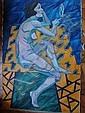 JOHNSON John Theodore 1902-1963Composition cubiste sur fond jaune et bleu, femme assise de profilHuile sur toile 130 x 80 cm John Theodore JOHNSON st un peintre américain qui a travaillé avec Lhote, qui est référencé au Bénézit, et dont, John Theodore  Johnson, Click for value