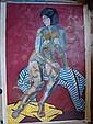 JOHNSON John Theodore 1902-1963 Composition cubiste Feme nue assise sur sa serviette, sur fond fushiaHuile sur Toile 120 x 80 cm, John Theodore  Johnson, Click for value