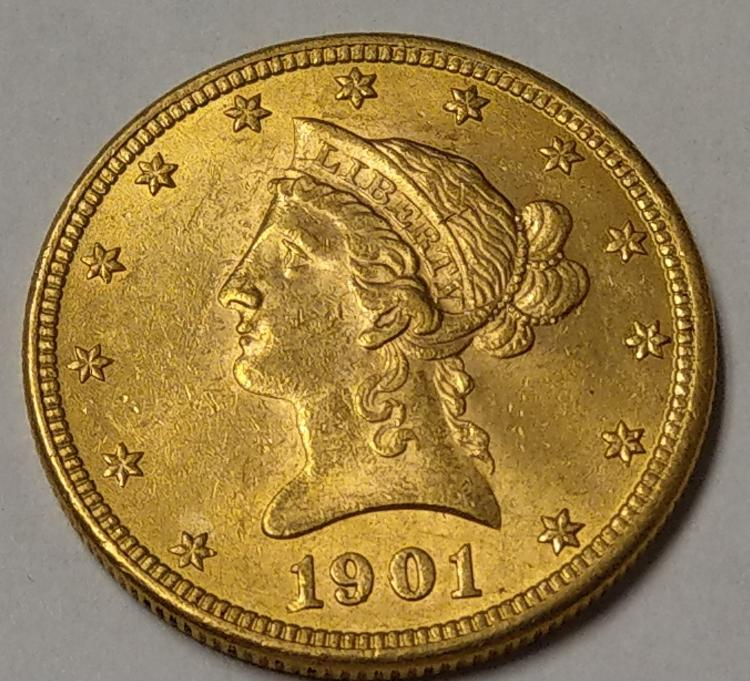 1901 US Gold $10 Liberty Coin
