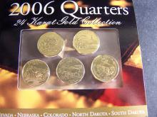 2006 24kt Gold 5-Coin State Quarter Collection.