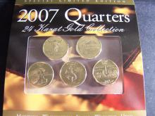 2007 24kt Gold 5-Coin State Quarter Collection.