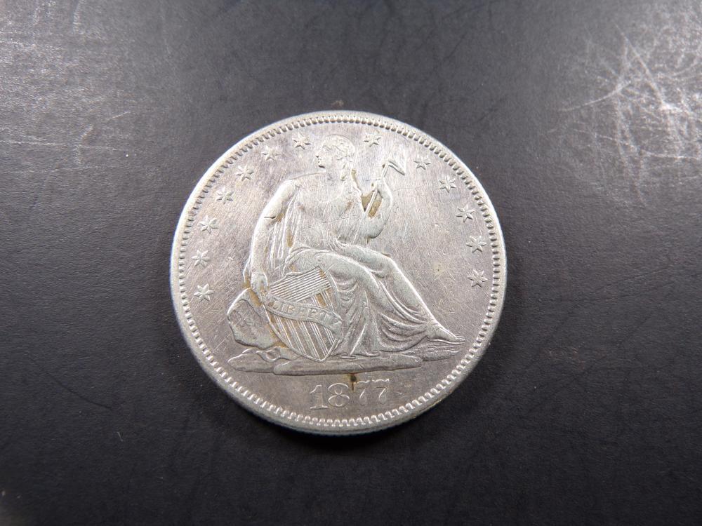 1877-S w/ Motto Seated Liberty Half Dollar - ** XF/AU **