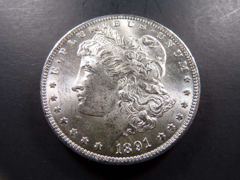 "1891-CC Morgan Silver Dollar. Choice UNC!! **RARE ""CC"" DOLLAR**"