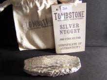Tombstone 10oz .999 Silver Nugget.